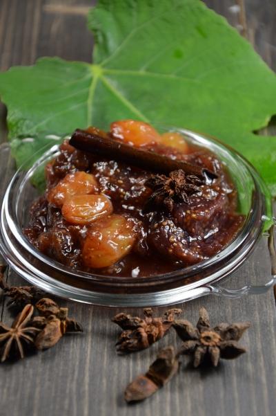 Compote de figues aux épices, figues, cannelle, anis étoilé