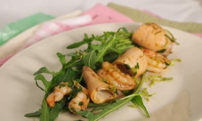 calamars au vin et roquette, calamars, vin blanc, roquette