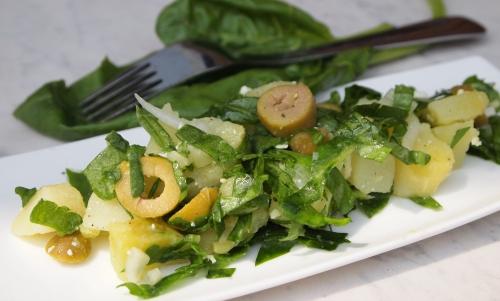 salade pommes de terre épinards, pommes de terre, épinards