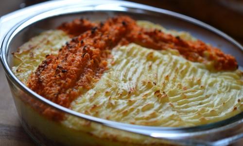 Parmentier et crème de carottes, hachis parmentier, carottes