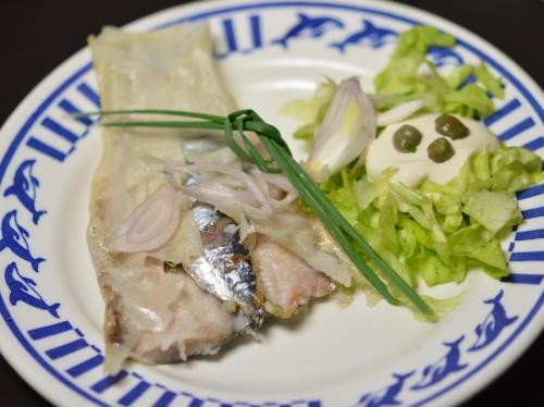 Bricks sardines à la Romaine, feuilles de birck, sardines, échalote, câpres, ciboulette