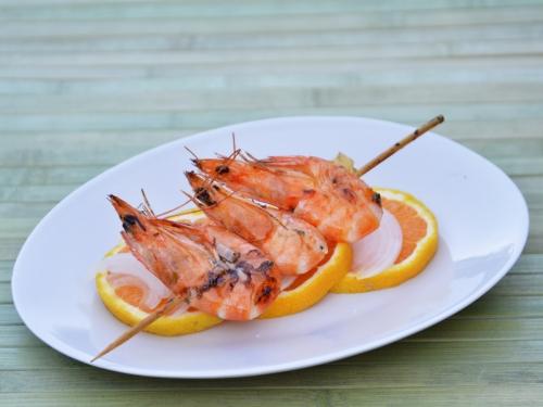 Crevettes aux agrumes, crevettes, orange, citron
