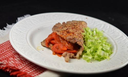 Escalopes de porc à la gitane, escalopes de porc, poivrons, oignons