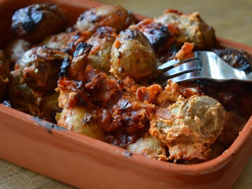 Pommes grenaille au chorizo, pommes de terre grenaille, chorizo, poivrons