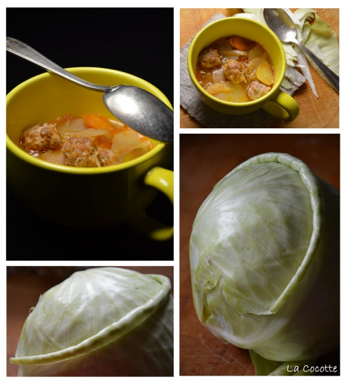 Soupe aux chouboulettes, soupe au chou, chou blanc, boulettes