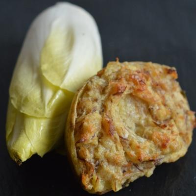 Gratin de maquereau et salade d'endives à la Boulonnaise, maquereau fumé au poivre, endives, salade d'endives