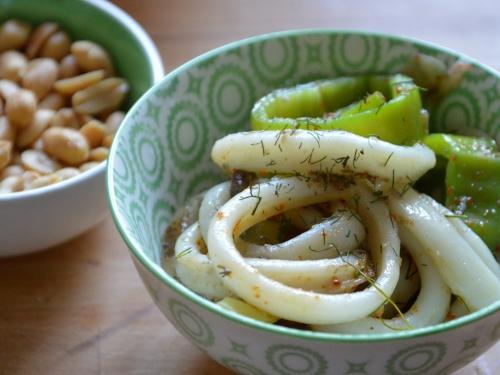 Ronds d'encornets fenouil et poivrons, encornets, poivrosn, fenouil