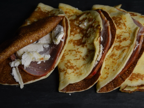 Crêpes chèvre et bacon