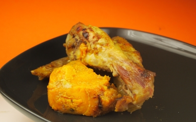 poulet à l'ail, ras el hanout, patate douce