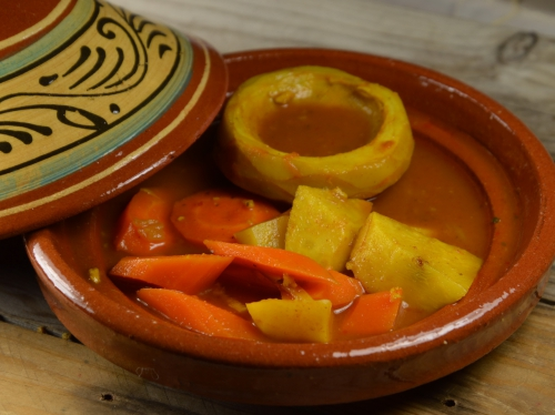 Tajine soleil, carottes, navets, artichauts