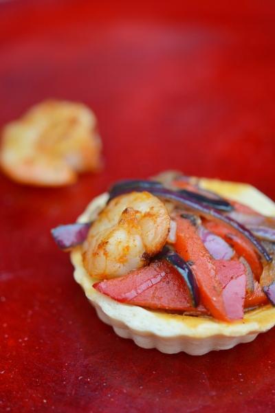 tartelettes crevettes,oignons,poivrons