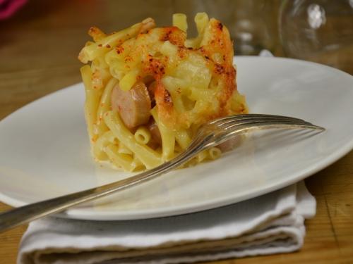 Pâtes-saucisses au Bergues, pâtes au fromage, fromage de Bergues, Bergues