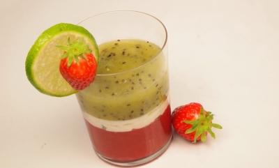 timbale fraises-kiwis, fraises, kiwis, citron vert, menthe