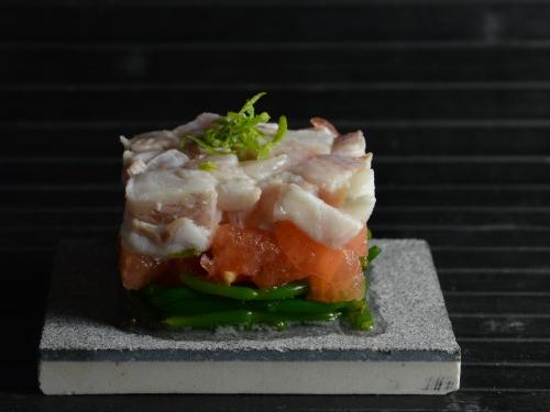 Rascasse tartare aux passe-pierres, rascassen sébaste, passe-pierre, salicornes
