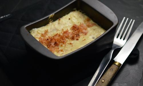 Gratin de jambon à la cancoillotte, jambon, pommes de terre, cancoillotte