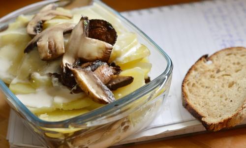 Gratin aux champignons, gratin, pommes de terre, champignons, La Cocotte