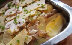 pommes de terre, champignons, crème