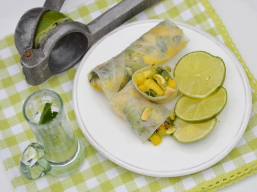 Rouleaux mojito, feuilles de riz, mojito, kiwi, citron, menthe, rhum