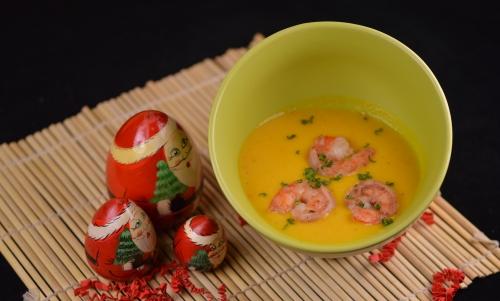 Soupe tout crevette, soupe à la crevette, potimarron
