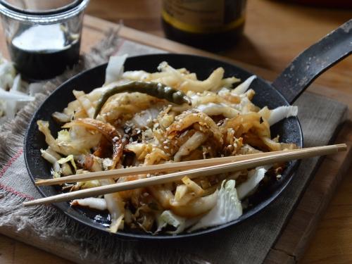 Chou chinois sauté au gingembre, chou chinois, gingembre, sauce soja
