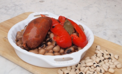 cornilles au chorizo, cornilles, chorizo, black-eyed peas, feijao frade