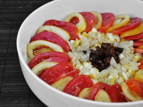 Taboulé tétons, taboulé, tomates Tétons de Vénus, Tétons de Vénus, citrons confits, courgettes
