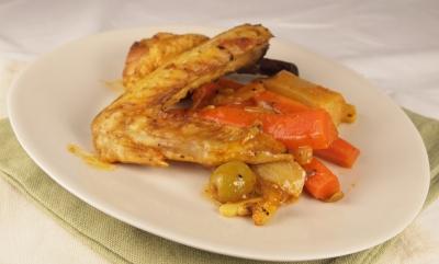poulet carottes et navets, poulet, carottes, navets