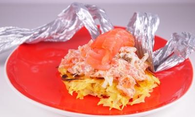 galettes de pomme de terre, tartare de saumon