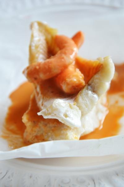 Poisson rose à la crevette, poisson, crevettes, baies roses