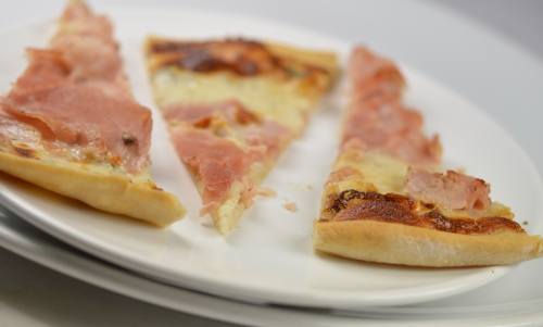 Pizzettes jambon, crème et thym, pizza, jambon, crème, thym, thym frais, parmesan
