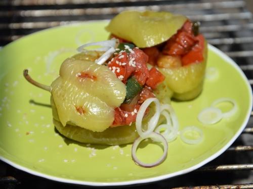 Poivron farci aux légumes, poivron, tomate, courgette