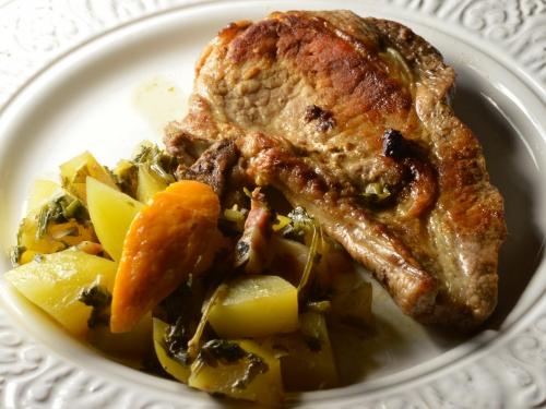 Porc à la persillade de poireaux, côtelettes de porc, persillade, poireaux, persil