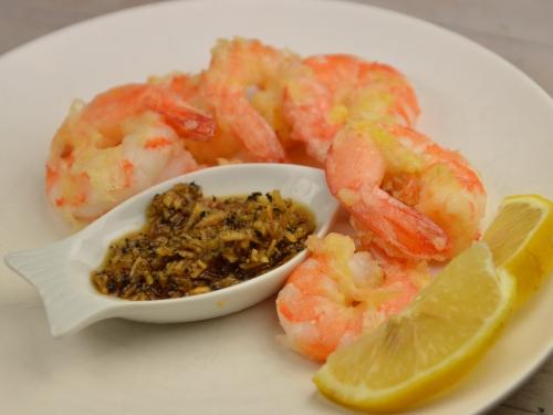 Tempura de gambas, tempura, gambas, radis noir, carottes, sauce soja, tamari