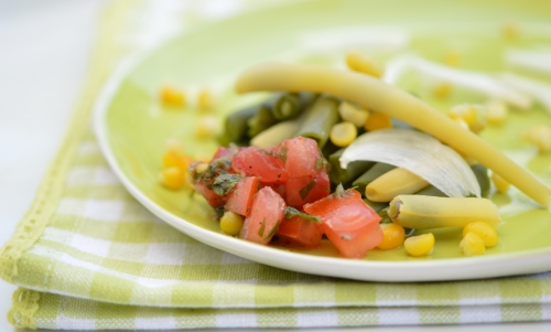 duo de haricots et maïs au pebre, haricots verts, haricots-beurre, maïs, pebre, Chili