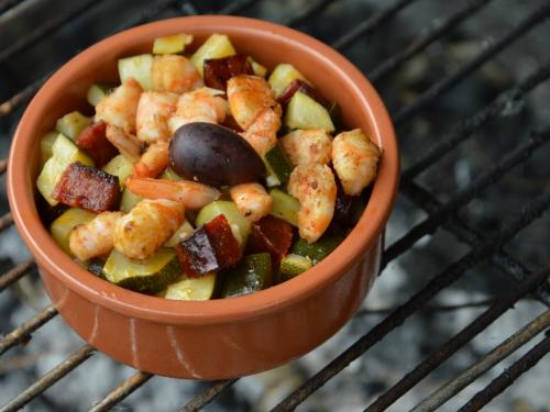 Crevettes et courgettes en tapas