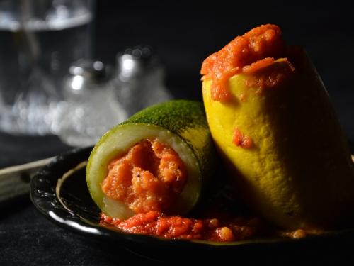 Courgettes farcies à la polenta, courgettes, polenta